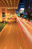 Viaduct traffic at night Royalty Free Stock Image