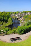 Viaduct view from hill, Knaresborough, England. Wide view of old viaduct bridge in Knaresborough, taken from the castle hill on the bank of river Nidd in bright Royalty Free Stock Image