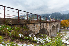 Viaduct was built during the Austro-Hungarian empire in the village of Vorokhta Royalty Free Stock Image