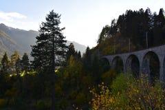 Viaduct in Zwitserland stock afbeelding