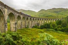 Viaducto de Glenfinnan del lado en día nublado con el paso del tren imagen de archivo