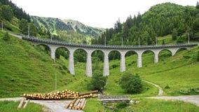 Viaducto del tren de la montaña en las montañas suizas Foto de archivo libre de regalías