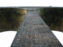 Viaducto inglés del Victorian del ladrillo en el amanecer Imágenes de archivo libres de regalías