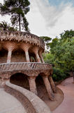 Viaducto and paths in Park Guell at Barcelona Royalty Free Stock Image