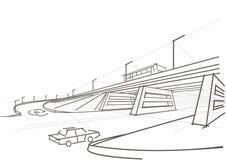 Viaduto arquitetónico linear do esboço Fotos de Stock