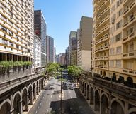 Viaduto de Otavio Rocha sobre Borges de Medeiros Avenida na cidade do centro de Porto Alegre - Porto Alegre, Rio Grande do Sul, B Foto de Stock Royalty Free