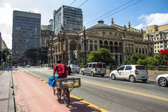 Viaduto do Cha. Sao Paulo, Brazil, February 12, 2016. Bike lane in Viaduto do Cha (Tea Viaduct) is a famous viaduct located in the center of the city of Sao royalty free stock photo
