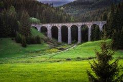 Viaduto railway histórico perto de Telgart em Eslováquia fotos de stock royalty free