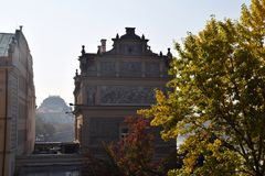 Viagem através de Praga bonita, República Checa, outono, outubro foto de stock