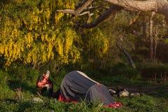 Viagem com a barraca no lugar bonito da natureza Imagem de Stock Royalty Free