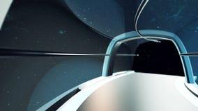 viagem 3D gerada por computador no túnel da nave espacial ilustração do vetor