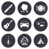 Viagem da caminhada, ícones de acampamento Pesca, barraca do turista Fotografia de Stock