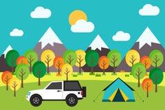 Viagem de acampamento exterior na ilustração lisa do vetor do projeto da floresta Foto de Stock