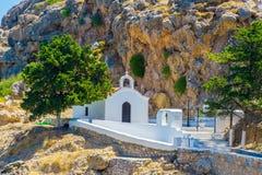 Viagem 2015 de Grécia, ilha de Rhodos, Lindos Imagens de Stock Royalty Free