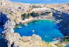 Viagem 2015 de Grécia, ilha de Rhodos, Lindos Fotografia de Stock Royalty Free