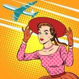 Viagem do aeroporto da mulher Fotos de Stock Royalty Free