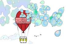 Viagem do balão de ar quente ilustração royalty free