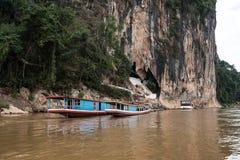Viagem do barco no Mekong River Luang Prabang, Laos fotos de stock