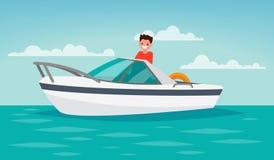 Viagem do barco recreação O homem controla o barco Illustr do vetor Foto de Stock