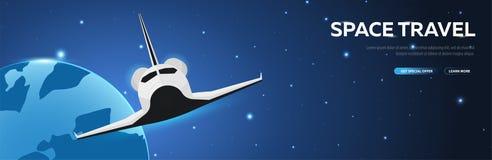 Viagem espacial Vaivém espacial fundo astronômico do espaço da galáxia Ilustração do vetor ilustração stock