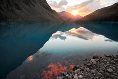 Viagem a pé através dos vales da montanha Beleza dos animais selvagens Altai, a estrada aos lagos Shavlinsky, Rússia Picos de nev Imagem de Stock
