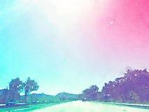 Viagem por estrada da aquarela ilustração do vetor