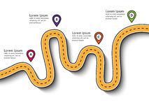 A viagem por estrada e a viagem distribuem o molde infographic com ponteiro do pino ilustração stock
