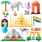 Viaggi alle icone di vettore dell'India ed agli elementi di progettazione Simboli nazionali indiani ed illustrazione piana dei pu royalty illustrazione gratis