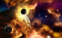 Viaggi attraverso i mondi fantastici nello spazio cosmico lontano royalty illustrazione gratis