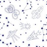Viaggi cosmici Modello senza cuciture di vettore con le costellazioni, la luna crescente, i razzi e le stelle Fotografie Stock