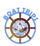 Viaggi della barca - etichetta illustrazione vettoriale