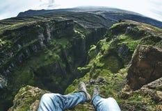 Viaggi e facendo un'escursione cascata del ` s dell'Islanda all'più alta Immagine Stock Libera da Diritti
