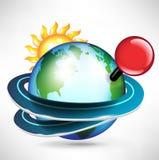 Viaggi intorno al globo con il contrassegno rosso del perno Fotografia Stock Libera da Diritti