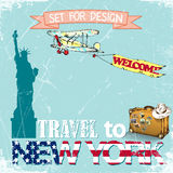 Viaggi a New York, U.S.A., insieme per progettazione Illustrazione di vettore illustrazione vettoriale