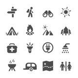 Viaggia e l'insieme di campeggio dell'icona, il vettore eps10 Immagini Stock Libere da Diritti
