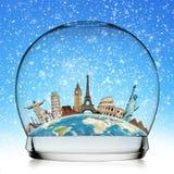 Viaggia il concetto della palla di neve del monumento del mondo Immagini Stock Libere da Diritti