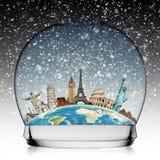 Viaggia il concetto della palla di neve del monumento del mondo Fotografie Stock