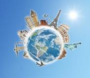 Viaggia il concetto delle nubi del mondo Fotografie Stock Libere da Diritti