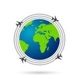 Viaggia il globo su stile piano di linee aeree Illustrazione di Stock