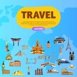 Viaggia il mondo Concetto del monumento Viaggio stradale illustrazione di stock