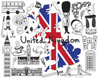 Viaggia l'icona a scarabocchio del Regno Unito Inghilterra e della Scozia Fotografia Stock