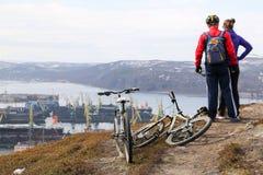 Viaggiando in bicicletta Fotografia Stock
