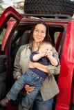 Viaggiando con un bambino Fotografie Stock Libere da Diritti