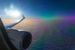 Viaggiando a Fuerteventura con l'aeroplano fotografie stock libere da diritti