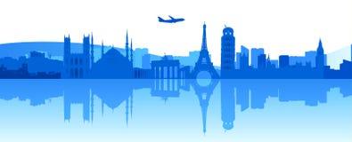 Viaggiando intorno ad Europa illustrazione vettoriale