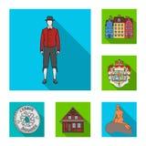 Viaggiando nelle icone piane della Danimarca nella raccolta dell'insieme per progettazione Web delle azione di simbolo di vettore Immagine Stock