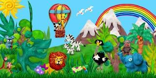 Viaggiando tramite l'illustrazione dell'insegna dei bambini della rappresentazione degli animali 3D dello zoo dell'aerostato Immagine Stock