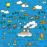 Viaggiare-senza giunte-reticolo-illustrazione illustrazione di stock