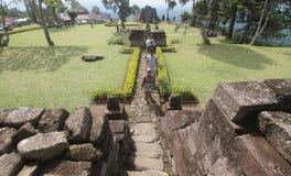 Viaggiato nel tempio Sukuh karanganyar Fotografie Stock Libere da Diritti
