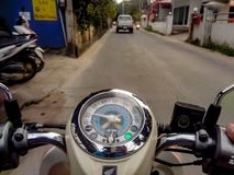Viaggiato via motcycle fotografia stock